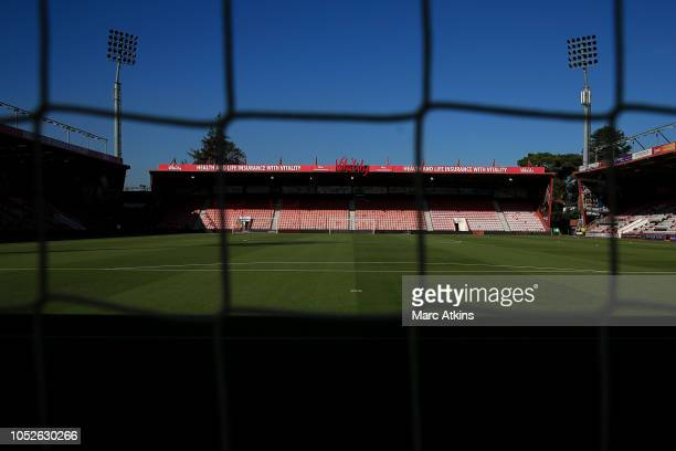 A general view of Vitality Stadium prior to the Premier League match between AFC Bournemouth and Southampton FC at Vitality Stadium on October 20...