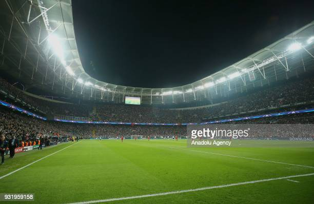 General view of Vodafone Park during the UEFA Champions League Round of 16 soccer match between Besiktas and FC Bayern Munich at Vodafone Park in...