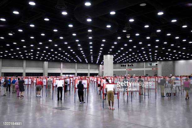 General view of voters during Tuesdays Kentucky primary election on June 23, 2020 in Louisville, Kentucky. The Kentucky Exposition Center is the only...