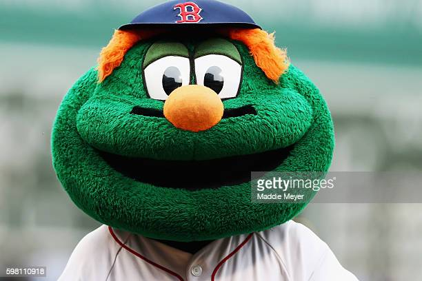 A general view of Wally the mascot of the Boston Red Sox before the game between the Boston Red Sox and the Tampa Bay Rays at Fenway Park on August...