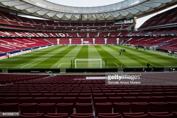 General view of Wanda Metropolitano grandstands before the UEFA Europa League quarter final leg one match between Club Atletico Madrid and Sporting...