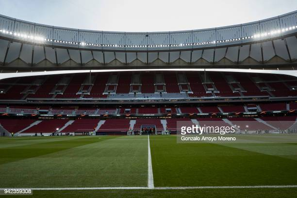 General view of Wanda Metropolitano stands before the UEFA Europa League quarter final leg one match between Club Atletico Madrid and Sporting CP on...