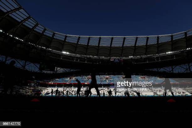 A general view of warm up prior to the 2018 FIFA World Cup Russia group H match between Japan and Poland at Volgograd Arena on June 28 2018 in...