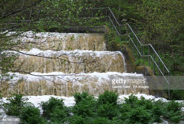 A general view of water gushing through the Yalding Inlet at Bewl Water Reservoir Lamberhurst Kent which is used to increase the capacity of the...