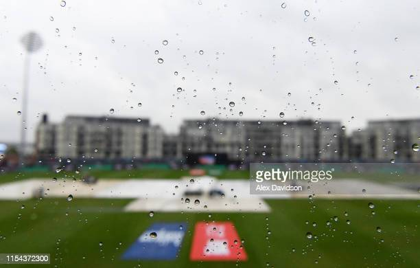 A general view of water on a window as play is delayed due to rain during the Group Stage match of the ICC Cricket World Cup 2019 between Pakistan...