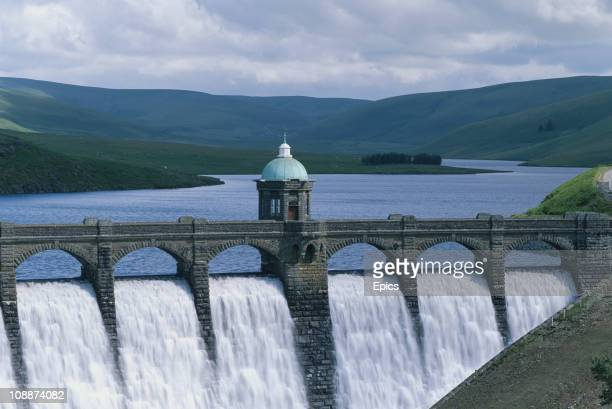 A general view of waters flowing by the Craig Coch dam in the Elan reservoir Powys Wales July 1997 The dam at Craig Goch is the highest upstream of...
