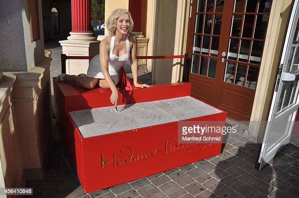 A general view of wax figure of Marilyn Monroe is seen at Madame Tussauds Vienna during Vienna celebrates Udo Juergens 80th birthday with bathrobe...