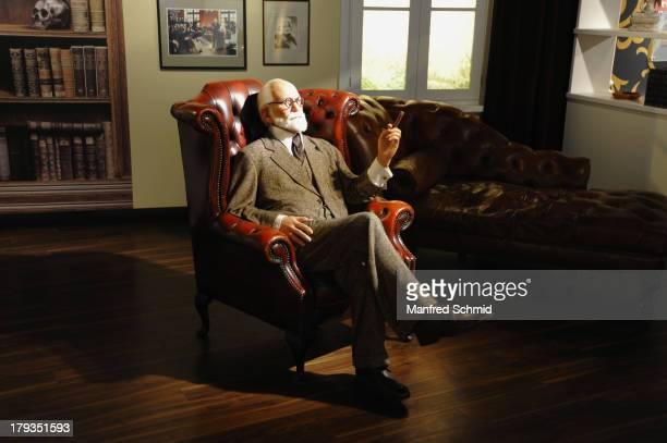 A general view of wax figure of Sigmund Freud is seen at Madame Tussauds Vienna on September 2 2013 in Vienna Austria
