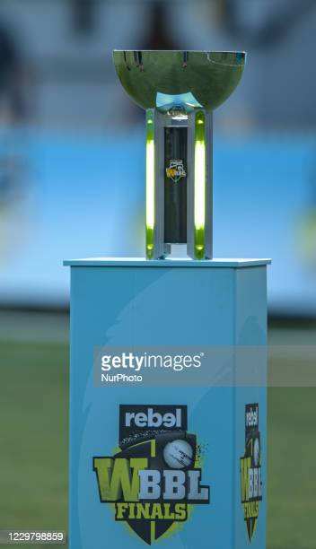 General view of WBBL trophy during the Women's Big Bash League WBBL Semi Final match between the Brisbane Heat and the Sydney Thunder at North Sydney...