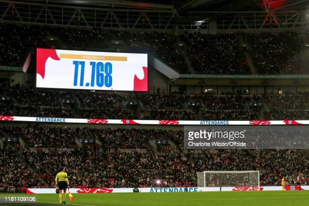 A general view of Wembley as the big screens display a record attendance of 77768 during the International Friendly between England Women and Germany...