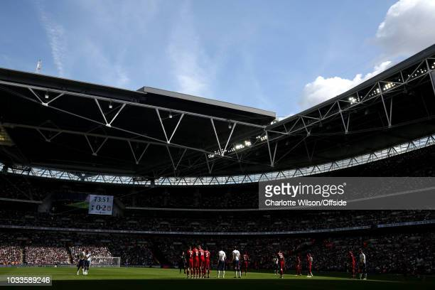 A general view of Wembley as Tottenham prepare to take a freekick during the Premier League match between Tottenham Hotspur and Liverpool FC at...