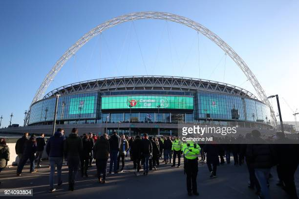 A general view of Wembley Stadium ahead of the Carabao Cup Final between Arsenal and Manchester City at Wembley Stadium on February 25 2018 in London...
