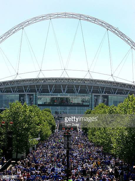 A general view of Wembley Stadium as crowds arrive for the FA Cup sponsored by EON Final match between Chelsea and Everton at Wembley Stadium on May...