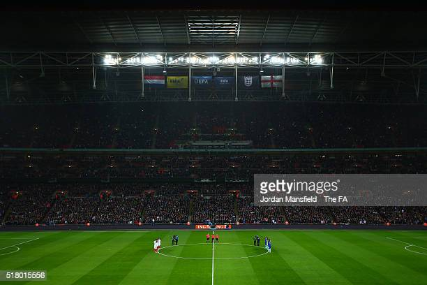 General view of Wembley Stadium as England and Netherlands players observe a minute of silence for the victims of Brussels terror attacks prior to...