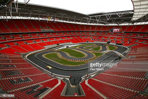 A general view of Wembley Stadium as Formula One drivers Jenson Button and David Coulthard alongwith World Touring Car champion Andy Priaulx take...