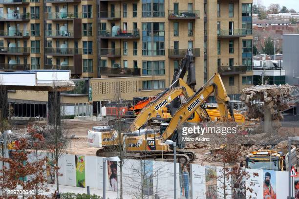 General view of Wembley Stadium as the ramps are demolished to make way for the new Olympic steps at Wembley Stadium on November 21, 2020 in London,...