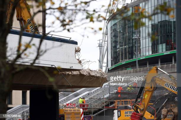 General view of Wembley Stadium as the ramps are demolished to make way for the new Olympic steps as seen in the background at Wembley Stadium on...