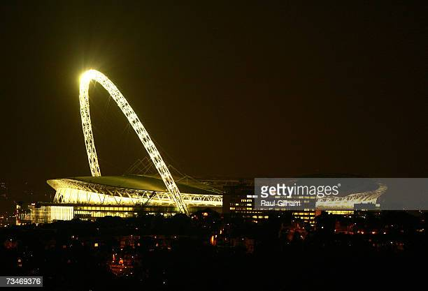 General view of Wembley Stadium at night on February 7, 2007 in London, England.