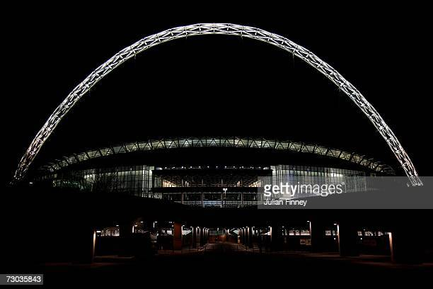 General view of Wembley Stadium at night on January 17, 2007 in London, England.