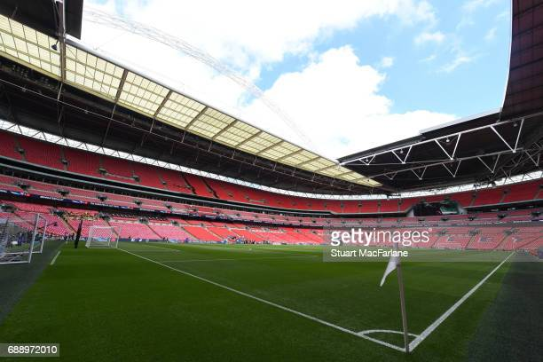 A general view of Wembley Stadium before the Emirates FA Cup Final between Arsenal and Chelsea on May 27 2017 in London England