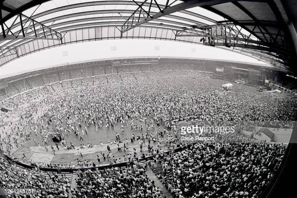General view of Wembley Stadium during Bruce Springsteen's 'Born in the USA' tour, London, 7/4/1985.