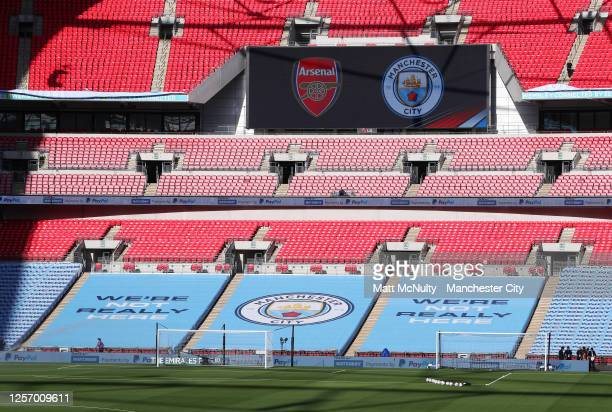 A general view of Wembley Stadium during the FA Cup Semi Final match between Arsenal and Manchester City at Wembley Stadium on July 18 2020 in London...