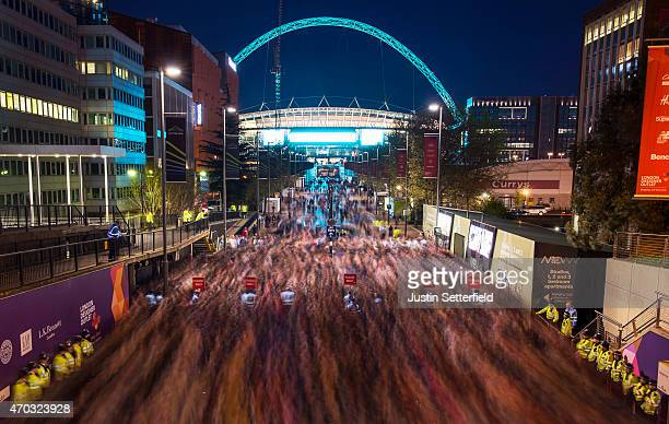 A general view of Wembley Stadium looking down Wembley Way as people make their way out of the stadium after the FA cup Semi Final between Arsenal...