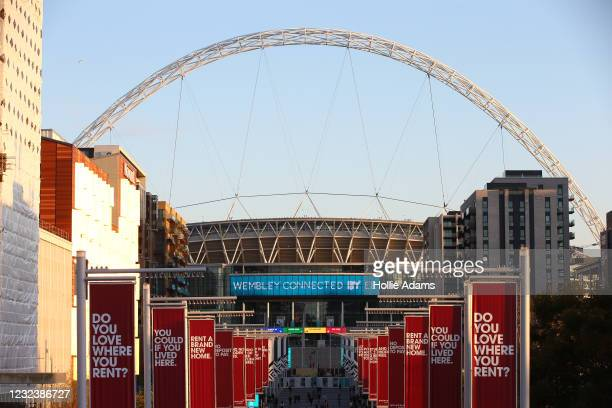 General view of Wembley Stadium on the day of the Semi Final of Emirates FA Cup match between Leicester City and Southampton FC at on April 18, 2021...
