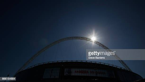 General view of Wembley Stadium prior to the Aviva Premiership match between Saracens and Harlequins at Wembley Stadium on April 8 2017 in London...