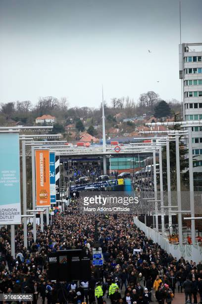 A general view of Wembley way as fans make their way to the North London Derby prior to the Premier League match between Tottenham Hotspur and...