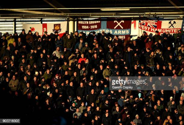 A general view of West Ham fans during The Emirates FA Cup Third Round match between Shrewsbury Town and West Ham United at Montgomery Waters Meadow...