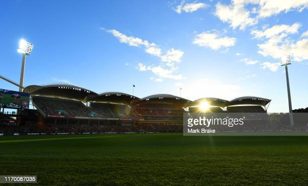 General view of western stands during the round 23 AFL match between the Port Adelaide Power and the Fremantle Dockers at Adelaide Oval on August 25,...