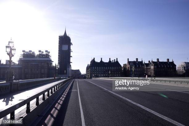 A general view of Westminster Bridge on March 24 2020 in London England British Prime Minister Boris Johnson announced strict lockdown measures...