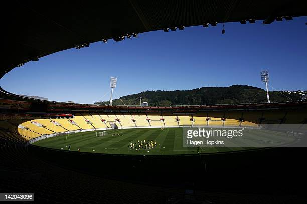 A general view of Westpac Stadium during a Wellington Phoenix ALeague training session at Westpac Stadium on March 29 2012 in Wellington New Zealand