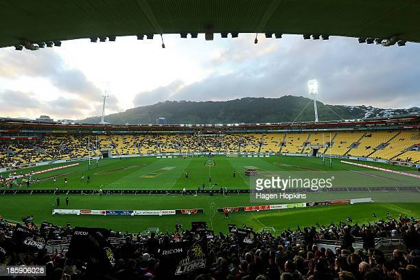 A general view of Westpac Stadium during the ITM Cup Premiership Final match between Wellington and Canterbury at Westpac Stadium on October 26 2013...