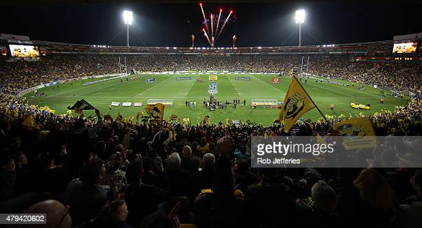 A general view of Westpac stadium during the Super Rugby Final match between the Hurricanes and the Highlanders at Westpac Stadium on July 4 2015 in...