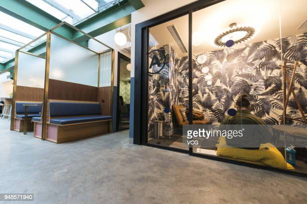 General view of WeWork Weihai Road flagship is seen on April 12 2018 in Shanghai China World's leading coworking space company WeWork will acquire...