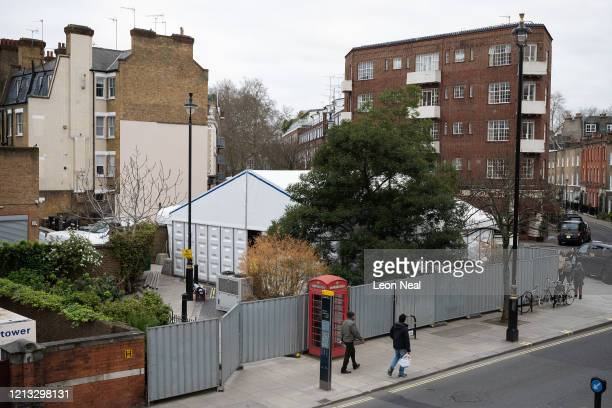 A general view of what is believed to be a temporary mortuary built to handle a possible spike in deaths due to the ongoing COVID19 coronavirus...