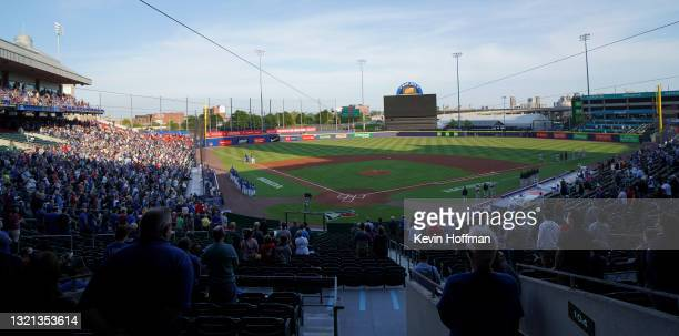 General view of when the national anthem is being played before the game between the Toronto Blue Jays and the Miami Marlins at Sahlen Field on June...