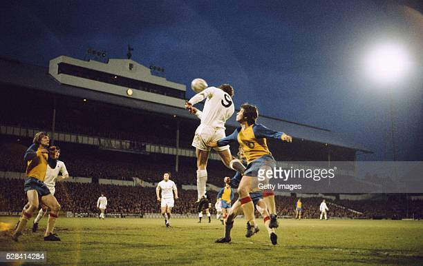 A general view of White Hart Lane as Spurs forward Martin Chivers gets in a header during the UEFA Cup Semi Final 2nd Leg match between Tottenham...