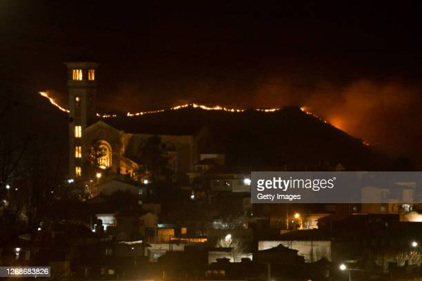General view of wildfires from La Falda on August 25, 2020 in Cordoba, Argentina. Wildfires are raging Argentina's Cordoba province threatening to...