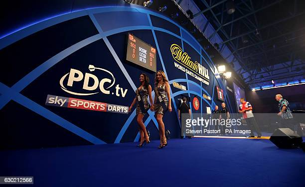 General view of William Hill oche girls leaving the stage during the walk on during day four of the William Hill World Darts Championship at...