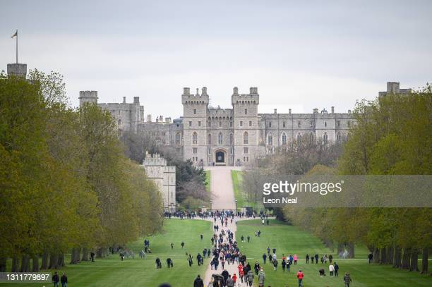 General view of Windsor Castle as people gather to lay floral tributes to Prince Philip, Duke Of Edinburgh who died at age 99, on April 10, 2021 in...