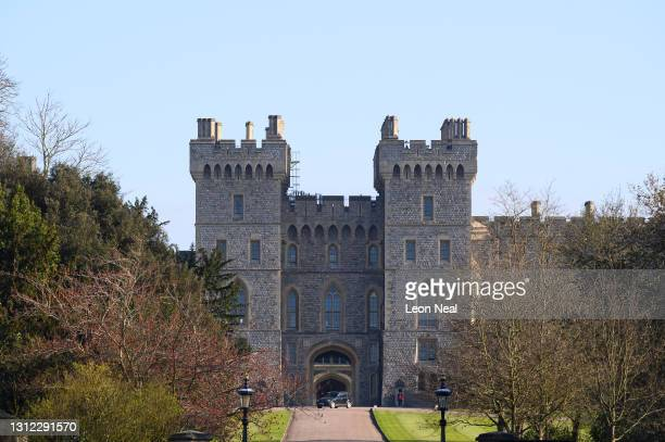 General view of Windsor Castle from the Long Walk as tributes continue to be made to Prince Philip, Duke Of Edinburgh who died at age 99 on April 13,...