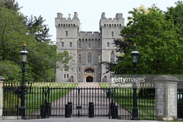 General view of Windsor Castle, with Queen Elizabeth II in residence, on May 08, 2020 in Windsor, United Kingdom.The UK commemorates the 75th...