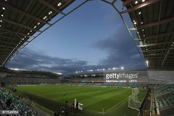 A general view of Windsor Park ahead of the FIFA 2018 World Cup Qualifier PlayOff First Leg between Northern Ireland and Switzerland at Windsor Park...