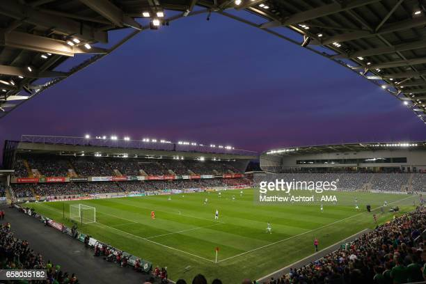 A general view of Windsor Park stadium as dusk falls during the FIFA 2018 World Cup Qualifier between Northern Ireland and Norway at Windsor Park on...