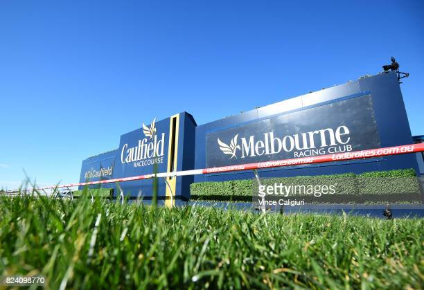 General view of winning post during Melbourne Racing at Caulfield Racecourse on July 29 2017 in Melbourne Australia