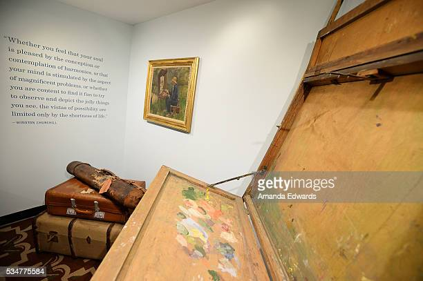 A general view of Winston Churchill's travel easel and baggage at the opening of an exhibition of Winston Churchill's paintings to coincide with the...