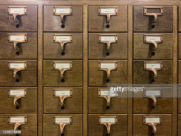 A general view of wooden filing cabinets containing reference cards at the underground preservation facility which houses the famed Bettmann...